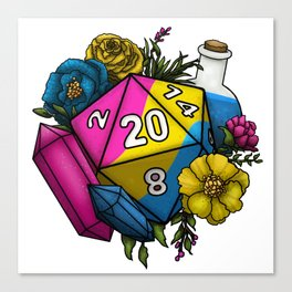 Pride Pansexual D20 Tabletop RPG Gaming Dice Canvas Print