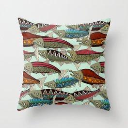 Alaskan salmon mint Throw Pillow