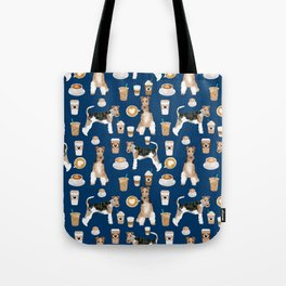 Wire Fox Terrier coffee dog pattern dog lover gifts for dog person dog breeds pet friendly Tote Bag