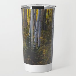 Duos of Aspens in a Yellow Colorado Autumn Forest Travel Mug