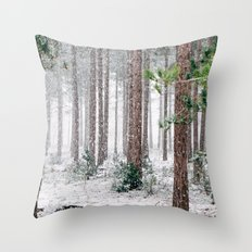 Snow #woods Throw Pillow