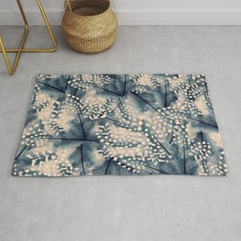 Ancona feathers - smooth beige with blue Rug