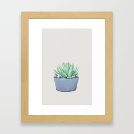 Small Potted Succulent with Crystals Framed Art Print