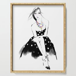 Polka Dot Dress Serving Tray