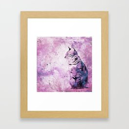 Pink Watercolor Cat Painting Framed Art Print