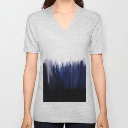 Modern blue cobalt black oil paint brushstrokes abstract Unisex V-Neck