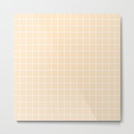 Bisque - pink color - White Lines Grid Pattern Metal Print