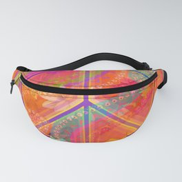 Hippie Chic Paisley Flowers Peace Fanny Pack