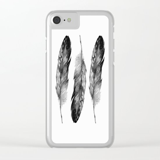 Three Feathers Black And White II Clear iPhone Case