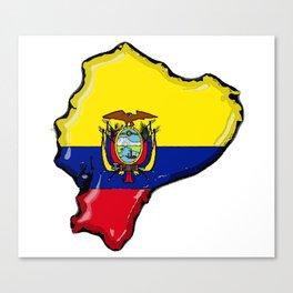 Ecuador Map with Ecuadorian Flag Canvas Print