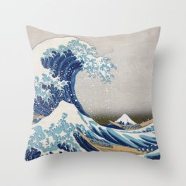 Under the Wave off Kanagawa - The Great Wave - Katsushika Hokusai Throw Pillow