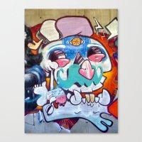 grafitti Canvas Prints featuring Grafitti Clown by Valann