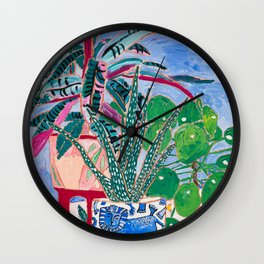 Houseplant collection Still Life on Blue Painting with Stromanthe Triostar, Pilea, and Snake Plant and Lion Vase Wall Clock