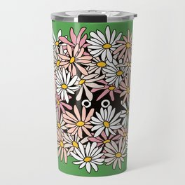 Shy Wallflower - anxiety, awkward, green, pink, flowers, daisies, daisy, retro, vintage, 60s, 70s Travel Mug