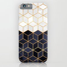 White & Navy Cubes Slim Case iPhone 6
