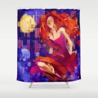 siren Shower Curtains featuring Siren by PlaidRed
