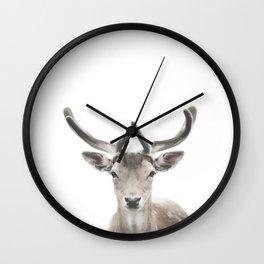 Deer Print, Deer Antlers, Forest Animal Wall Art Wall Clock