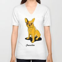 frenchie V-neck T-shirts featuring Frenchie by andiroses