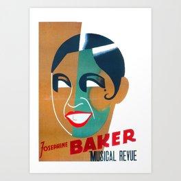 Josephine Baker Vintage Poster for Stockholm Art Print
