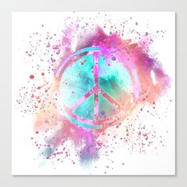 Colorful Painted Peace Symbol Canvas Print