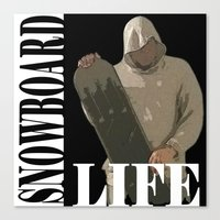 snowboard Canvas Prints featuring SNOWBOARD LIFE  by Robleedesigns