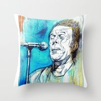 tom waits Throw Pillows featuring Blue Tom Waits by Mark Matlock