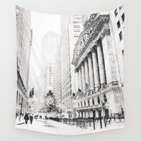 new york city Wall Tapestries featuring New York City Christmas by Vivienne Gucwa