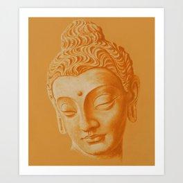 Siddharta Gautama oranje Art Print