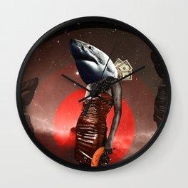 Hai Life mit Banane · Space Wall Clock