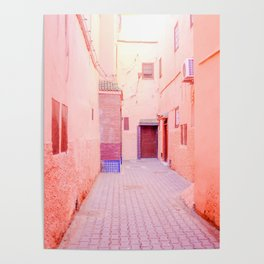 Colorful Pink Hued Street in Medina Marrakech Morocco Poster