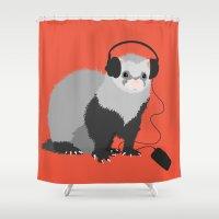 ferret Shower Curtains featuring Music Loving Ferret by Boriana Giormova
