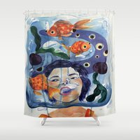 anxiety Shower Curtains featuring Anxiety by NappingNinja