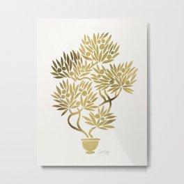 Bonsai Fruit Tree – Gold Palette Metal Print