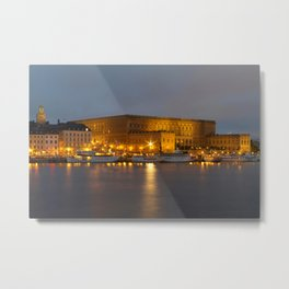 Stockholm Palace By Night Metal Print