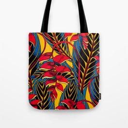 Jungle Glam Falling Leaves Blue Gold Tote Bag