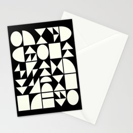Mid Century Style Shapes in Black and White Stationery Cards