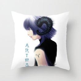 Aries Sign - Zodiac series by OccultArt Throw Pillow