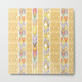 Yellow striped patchwork . Metal Print