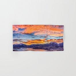 Sunset Pano // Beautiful Rocky Mountain Lake View Colorado Red Orange Sky Hand & Bath Towel