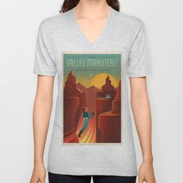 SpaceX Mars tourism poster / VM Unisex V-Neck