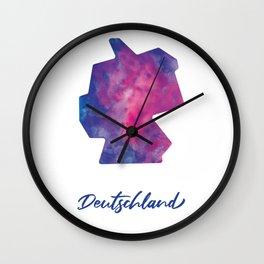 Karte von Deutschland in Aquarell Wall Clock