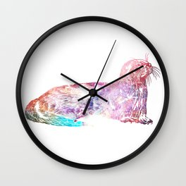 Otter Galaxy Distressed Wall Clock