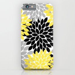 Yellow Black Gray Flower Burst Floral Pattern iPhone Case