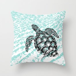 Sea turtle print in black and white Throw Pillow
