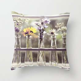 Windowsill Flowers Throw Pillow