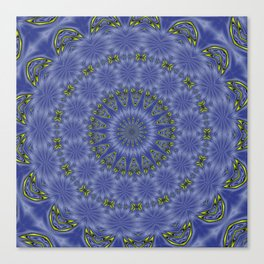Blue and Yellow Abstract Kaleidoscope Canvas Print