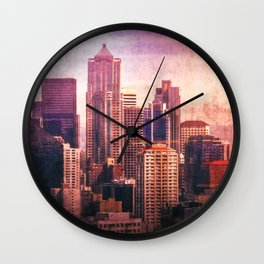 Decode in Downtown Seattle Wall Clock