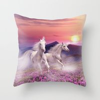 unicorns Throw Pillows featuring Unicorns by Nessendyl