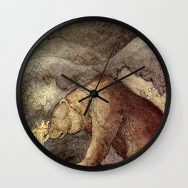 John Bauer Kissed the Bear On The Nose 1907 Reproduction Young Princess Bear Fairy Tale Wall Clock
