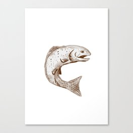 Rainbow Trout Jumping Watercolor Canvas Print